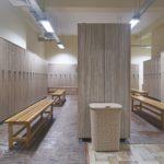 Clean locker room with RFID locker locks